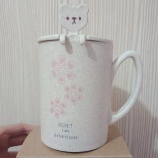 【新品】杯子湯匙組,有杯蓋、湯匙與杯子,小麥纖維環保