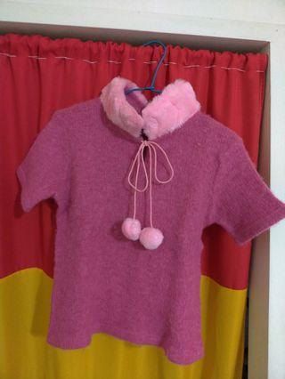 小羊毛短袖毛衣