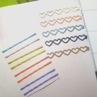 髮飾 一字夾 造型夾 夾子 網美必備  5隻愛心一字夾+彩色一字夾8隻 (如圖)可議價