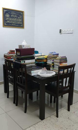 Dining table meja makan tempered glass 6 seater