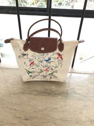 Longchamp Bag White Mini Motif