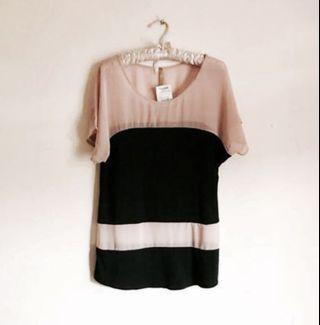 BNWT - West Kei Cute Light Brown & Black Stripes Mesh Top