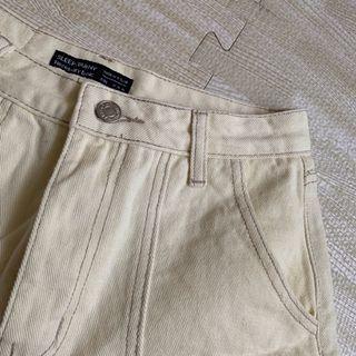 米黃色 牛仔 短褲 明線 高腰