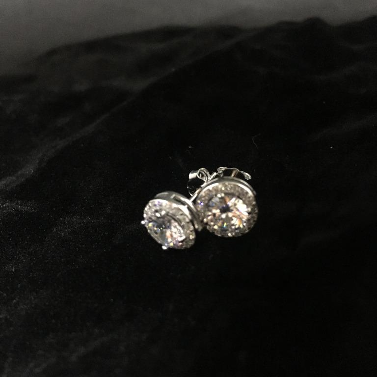 18K White Gold Plated Halo Stud Earrings Made with Swarovski Elements