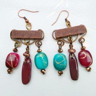 Wire Wrap Gypsy Bohemian Chandelier Earrings Mixed Media Earrings Art Jewelry