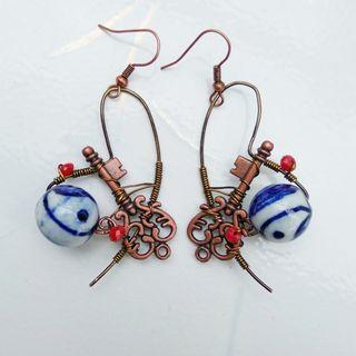 Key To The Yin Yang Tai Chi World Earrings Wire Wrap Ceramic Key Charm Earrings