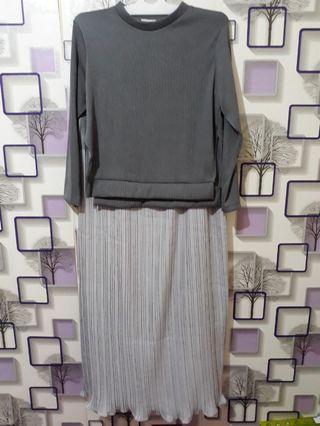 Baju semi prisket + sweater grey