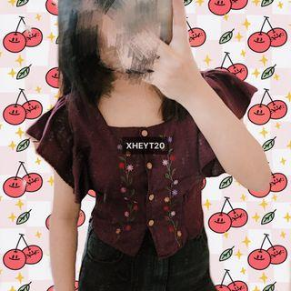 Brand New Wine Red Floral Cute Button Up Top