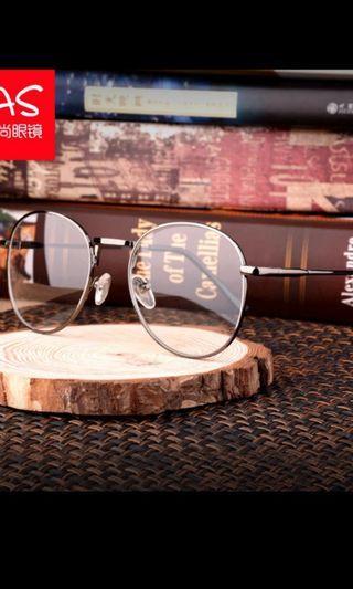 文青 復古圓形 無度數 槍色眼鏡