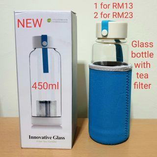 Glass bottle with tea filter