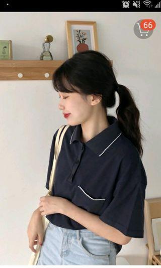 短袖可愛口袋polo衫 深藍 尺寸表在第4張