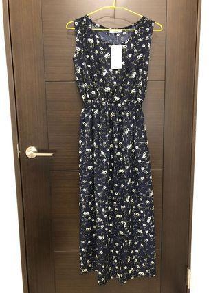 深藍碎花質感洋裝