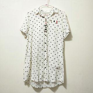日系 白色點點襯衫洋裝