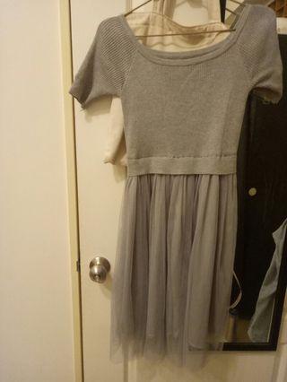 煙灰色針織紗裙