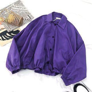 贈🎁原宿風斗篷造型寬鬆百搭防曬外套 襯衫外套 紫色外套 防風外套 短版