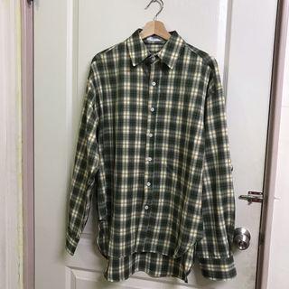 (全新)正韓購入 黃綠格紋襯衫 古著 工裝 o.poism pal plainme