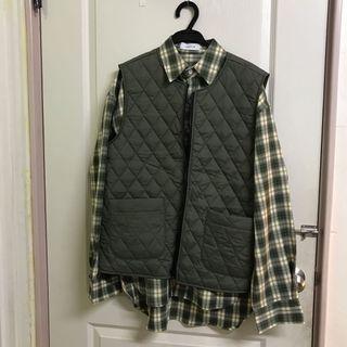 (全新) 正韓代購購入 菱格紋微鋪毛口袋背心 古著 工裝 o.poism PAL plainme