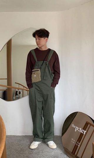 (全新僅試穿)正韓wensdaytw休閒吊帶褲 與o.poism 防割紋工作吊帶褲 類似 PAL plainme  工裝