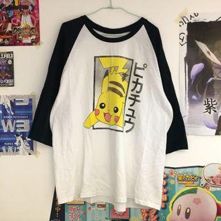 日本購入 神奇寶貝 寶可夢 皮卡丘七分袖拼接棒球上衣 黑白
