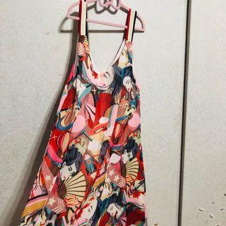 印花 日本風 背心 洋裝 日本娃娃 雪紡紗