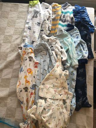 12 Baby Boy Onsies 3-6 and 6-9 month sized