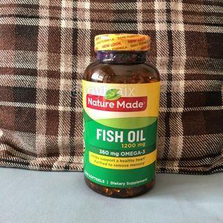 200顆大罐裝 美國萊萃美Nature Made fish oil 魚油1200mg 液態軟膠囊