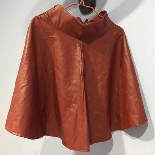 Synthetic leather red flare skirt