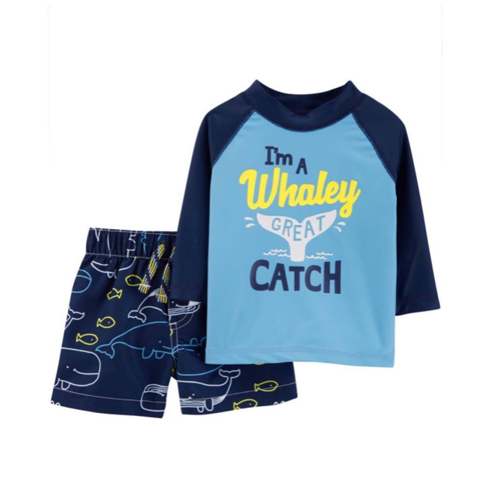 *24M* Carter's Baby Boy 2-Piece Whale Rashguard / Swimwear Set