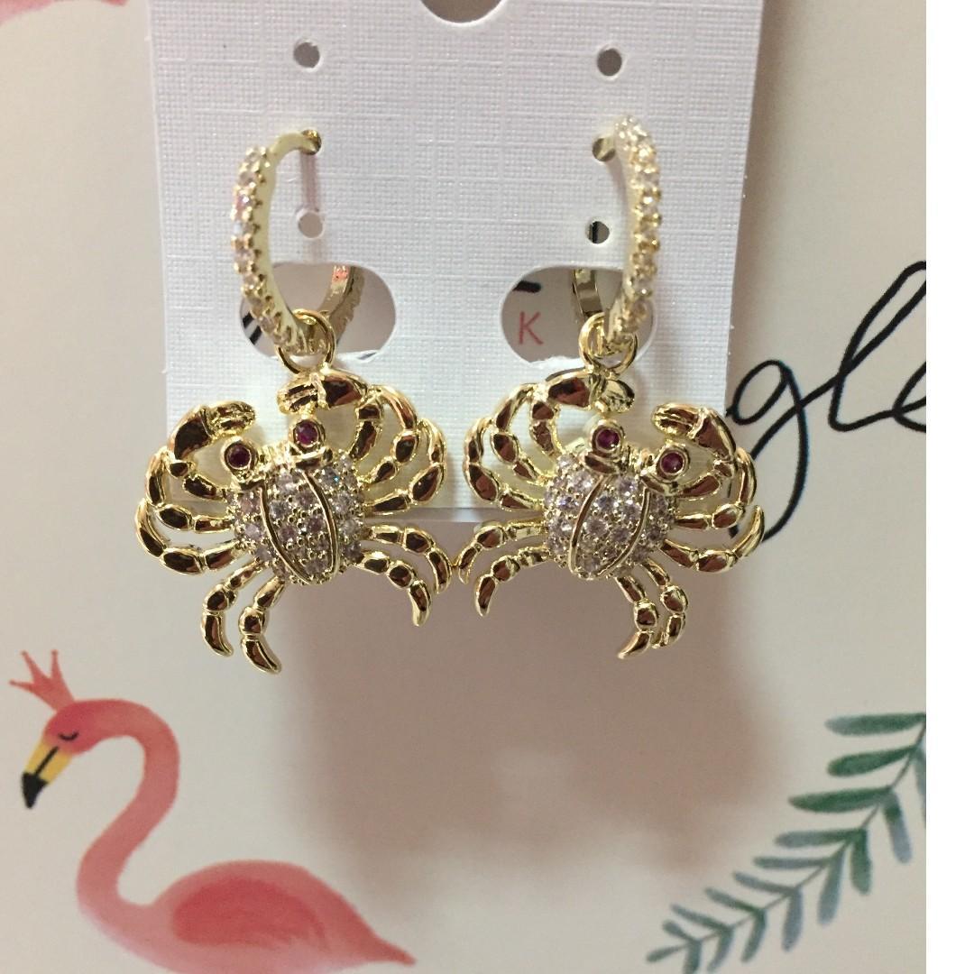 耳環 925銀針 易扣滿鑽螃蟹  925silver  earring