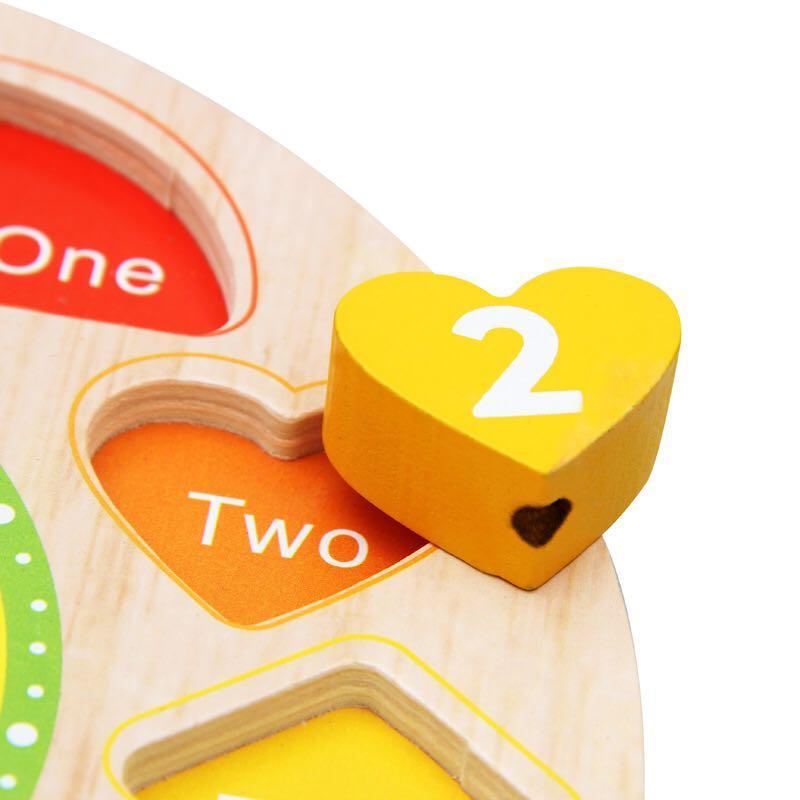 包郵 串珠形狀配對時鐘 玩具 幼稚園面試玩具 早教 木製玩具