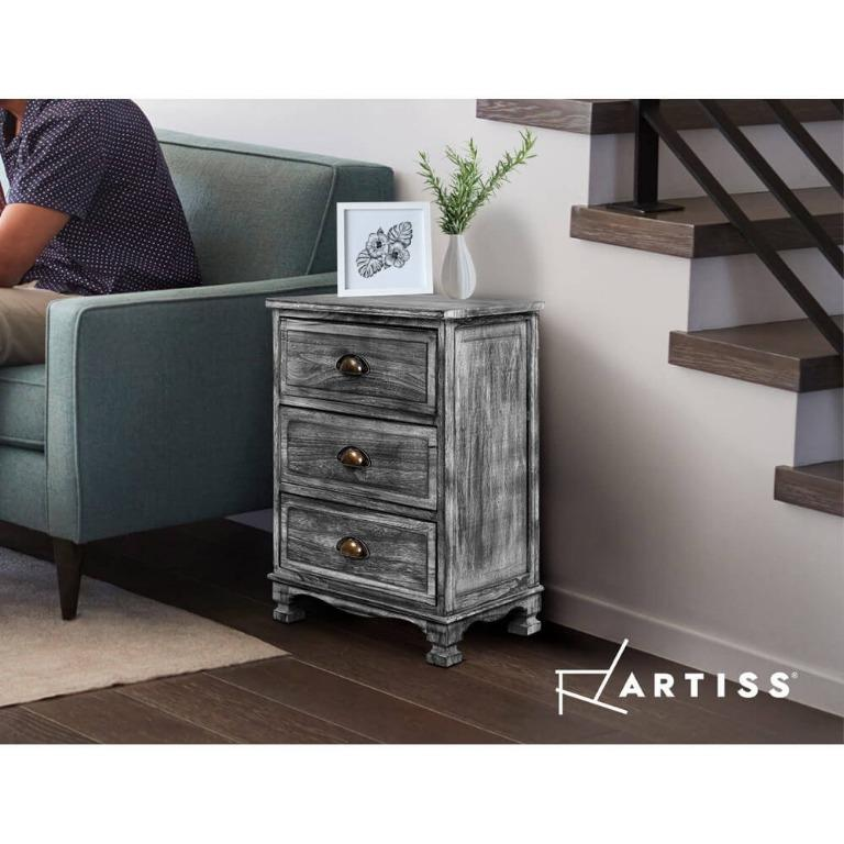 Artiss Bedside Tables Side Table Drawers Cabinet Vintage Grey Nightstand Storage