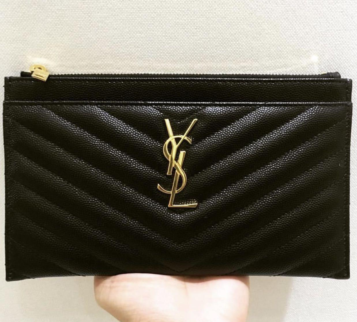 🆕AUTHENTIC YSL MONOGRAM FLAT WALLET WITH ZIP GRAINY LEATHER BLACK in GOLD HARDWARE