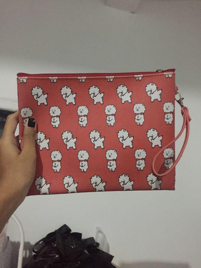 BTS BT21 Kpop RJ Alpaca Pouch with Strap Clutch Bag