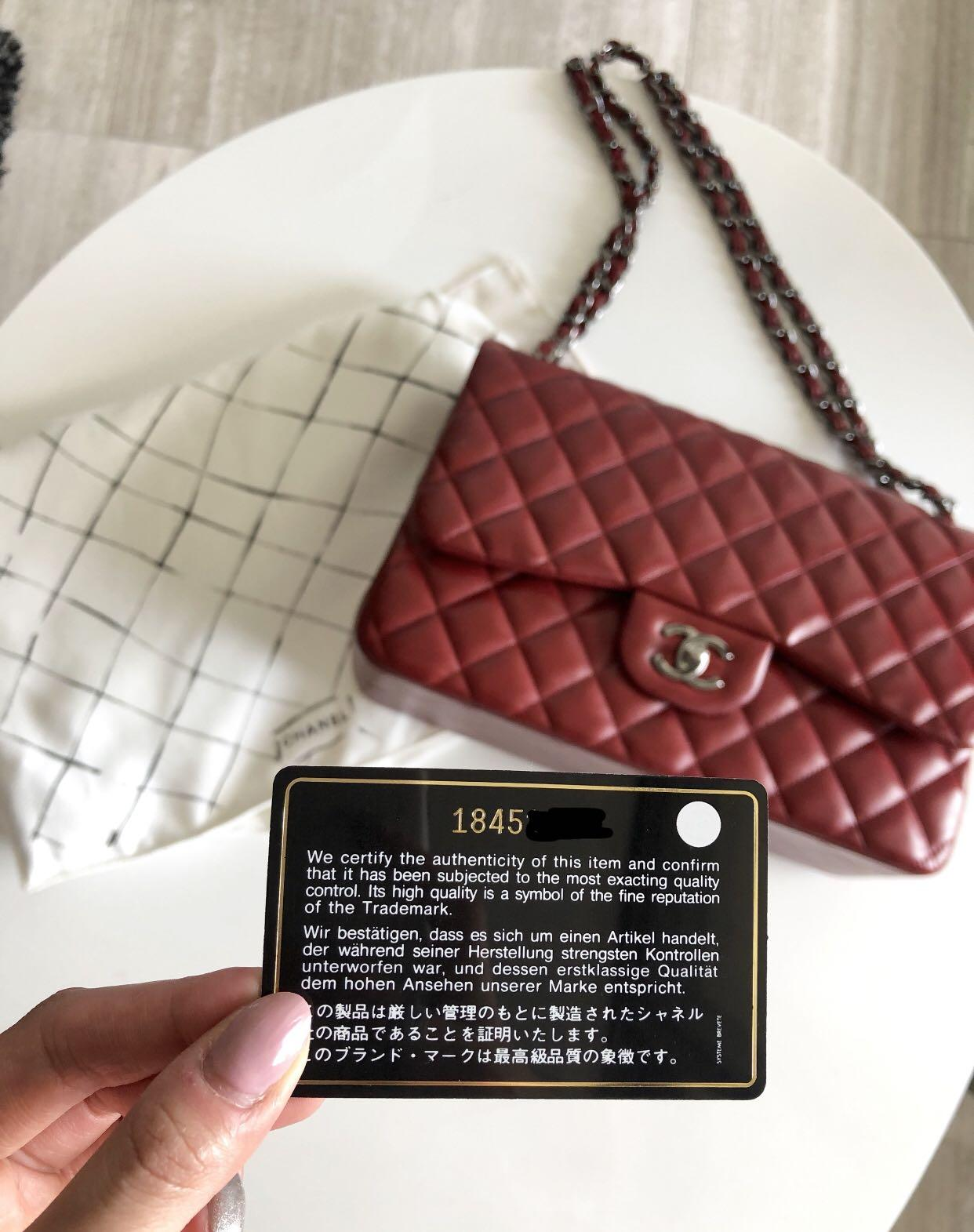 Chanel Jumbo Classic Double Flap in Dark Red Lambskin