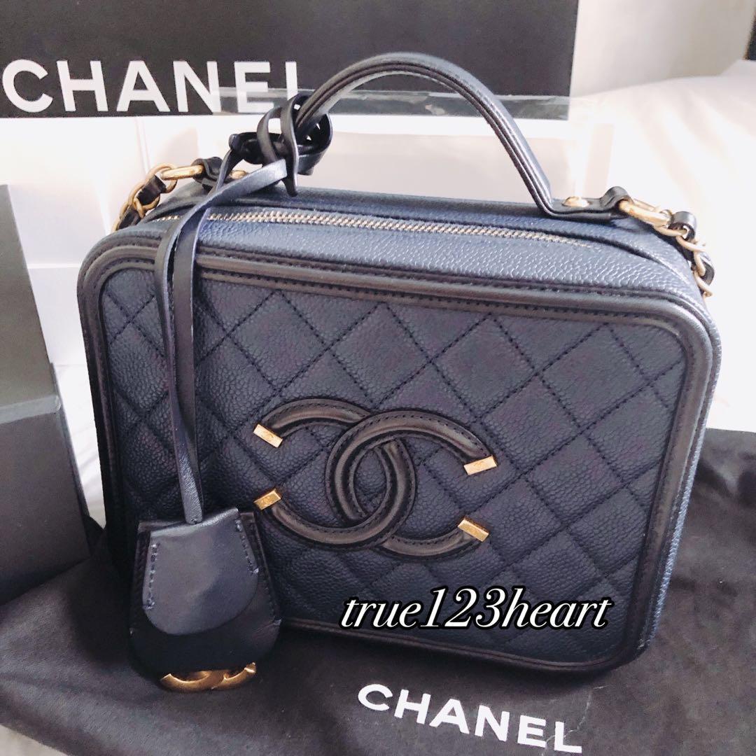 Chanel Vanity Case 21cm 深藍化妝包 梨花款 正品 附購證