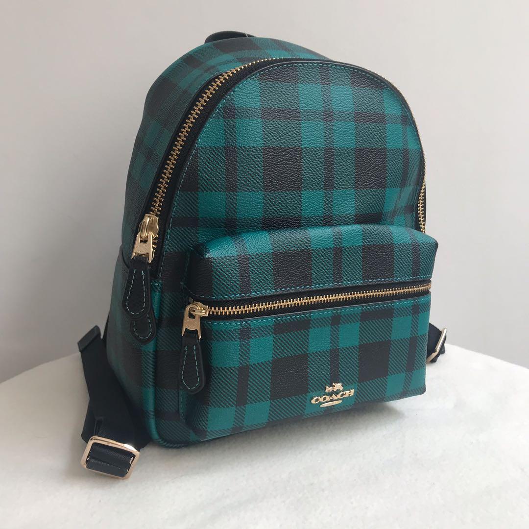 Coach charles mini plaid backpack authentic ori original tas bag