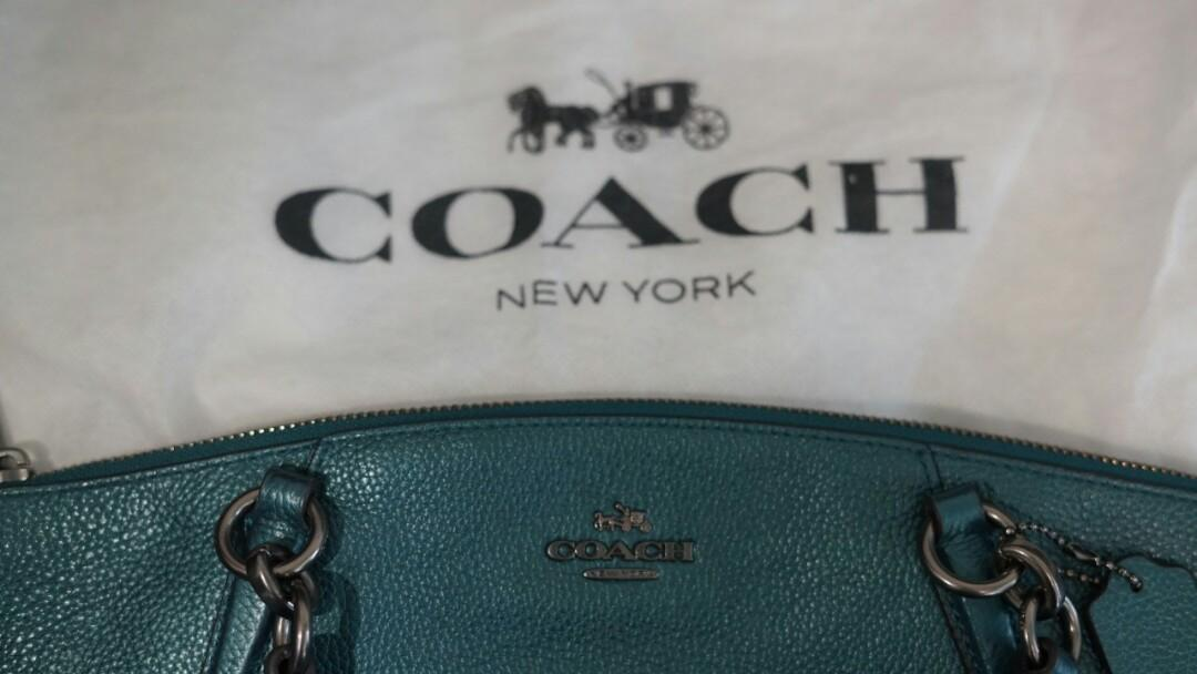 Jual Rugi [REPRICE] Coach KELSEY Small - Metallic pebble leather in dark teal