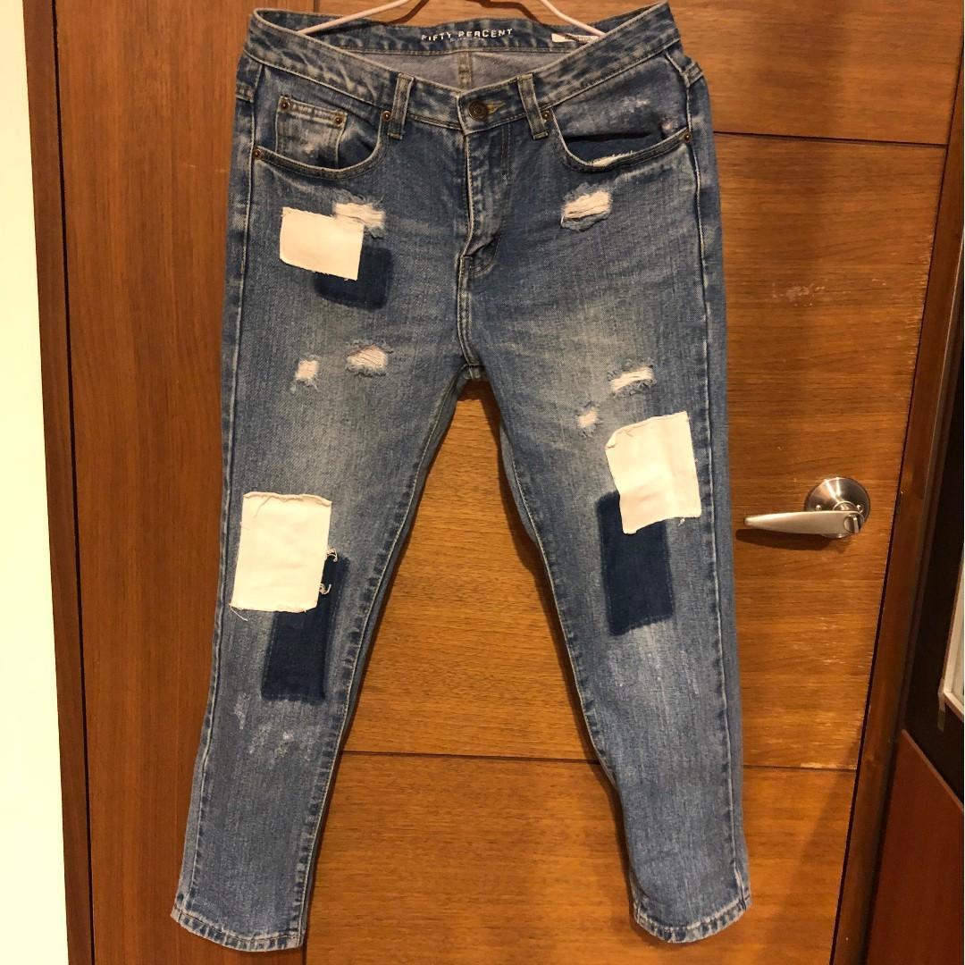 Fifty percent 個性補丁風格牛仔褲