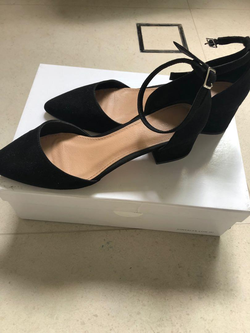 Forever New Size 7 (38) Black Strap Heels Pumps Court Shoes