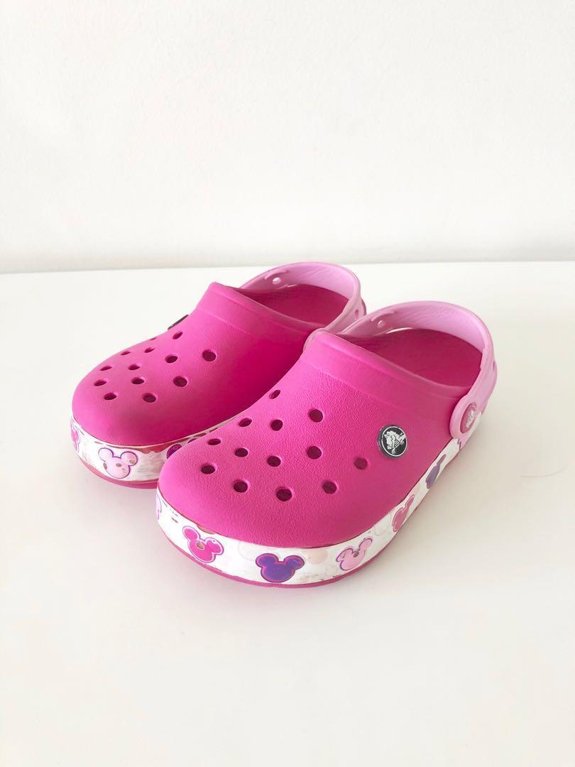 Pink Crocs Shoes Minnie Mouse Design