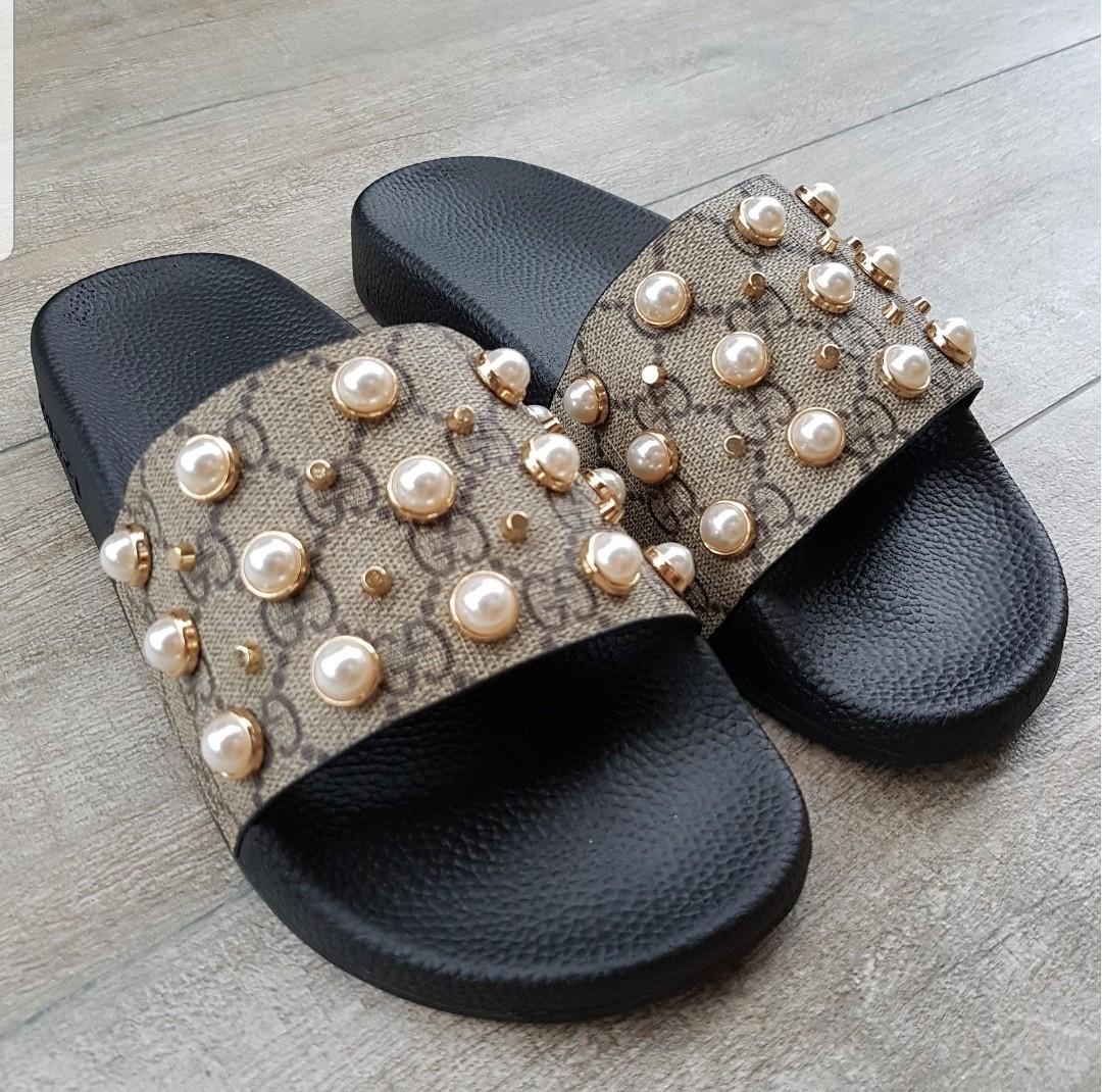 gucci pearl slides 37