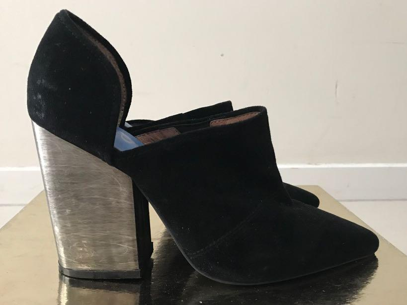 Jeffrey Campbell black suede silver block heel boot size 38 fit 7.5 - reasonable offer accepted