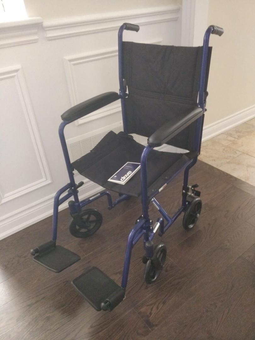 "Like NEW Drive brand 19"" aluminum foldable transport chair"
