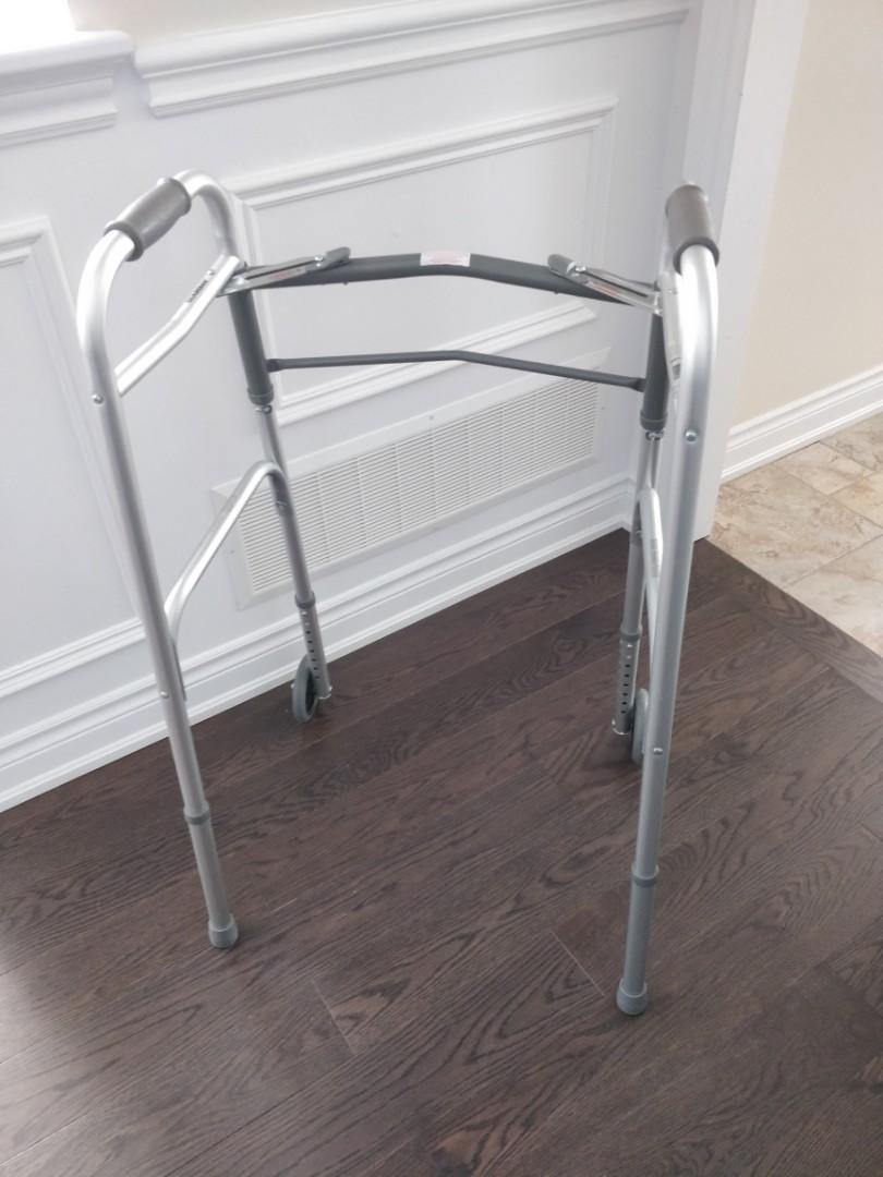 "Like NEW Medline two button folding walker with 5"" wheels"
