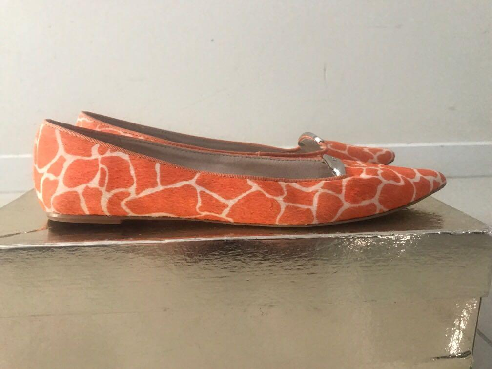 MIMCO orange animal print flats size 8 - reasonable offer accepted
