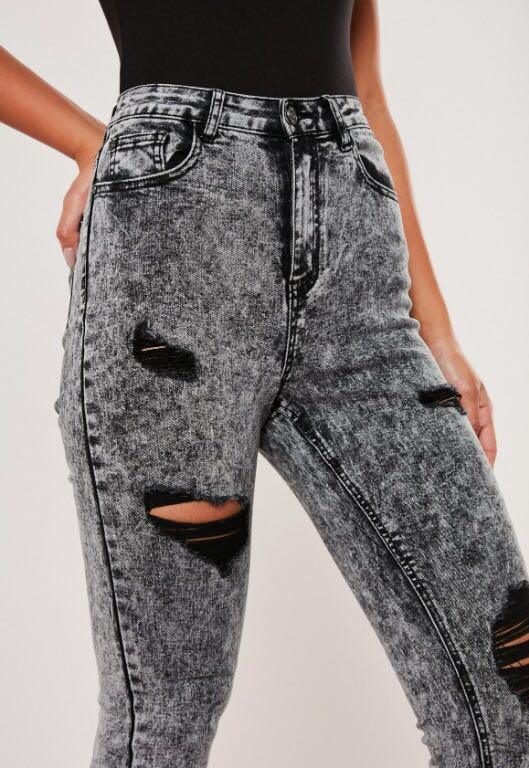 missguided black acid wash high waisted distressed jeans