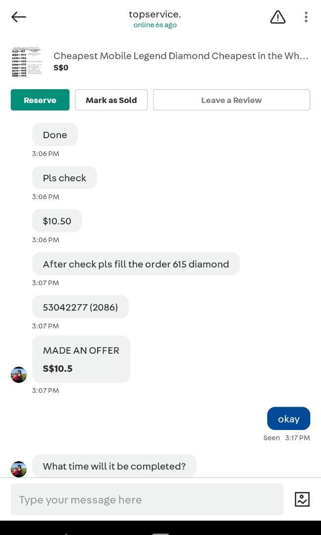 Mobile legend Diamond Prove of topservice. Chat