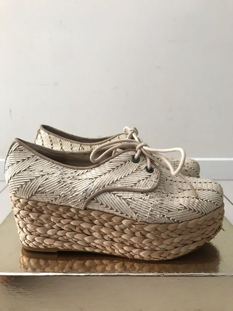 Mollini woven leather platform espadrilles fit 6.5 - reasonable offer accepted
