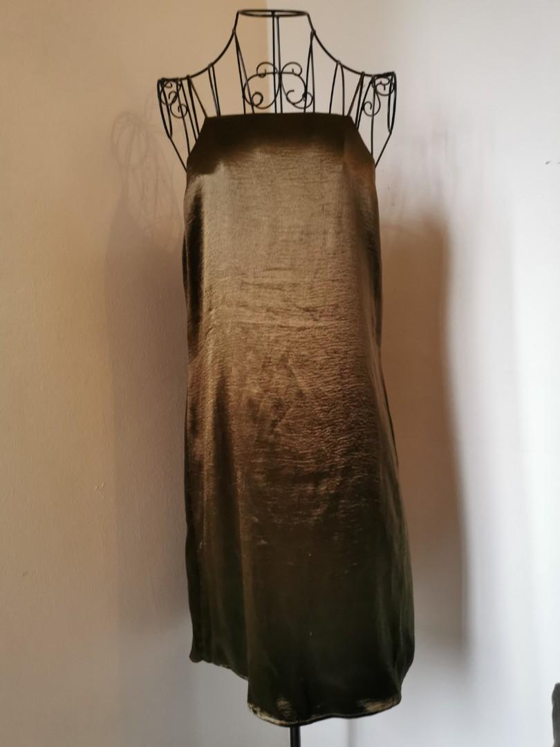 Preloved Mango Olive Satin dress