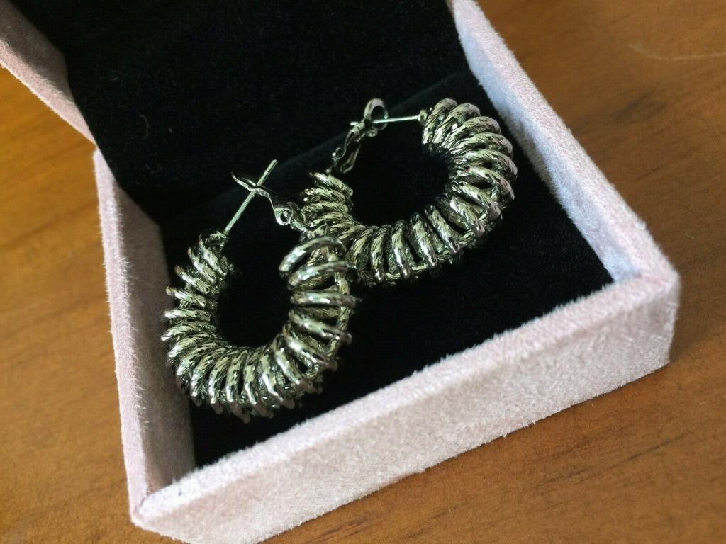 RELIQUIA 18k White Gold-Filled Spiral Hoop Earrings BNWOT RRP$120